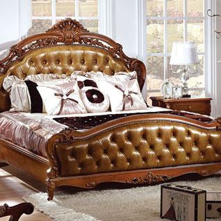 FIBE3:無垢材のベッドフレームを使用した高級感のある伝統的なベッド