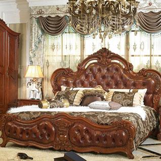 FIBE6:高級感のあるブラウンのレザーを使用した伝統的なベッド
