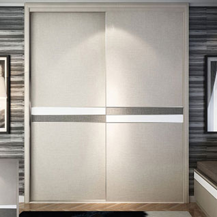 FIBE50 : Modern Wood Grain Melamine Sliding Door Wardrobe