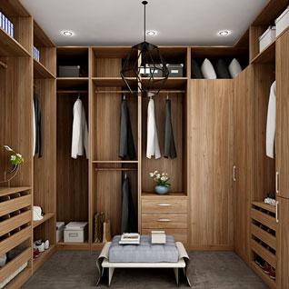 FIBE43 : U-shaped Wood Grain Walk-in Closet of Best Design