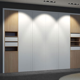 FIBE54 : Fashionable Lacquer Hinged Wardrobe with Wood Grain Accent