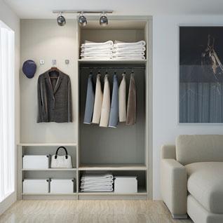FIBE46 : Modern Wood Grain Melamine Wardrobe