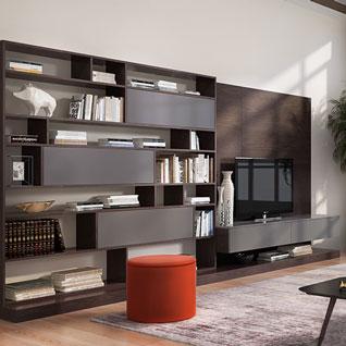 FILD6:現代的なデザインのダークウッドテレビキャビネット・ブックケース