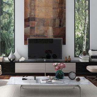FILD5:ブラックラミネートと明るい木目調のPVC製ロングテレビスタンド