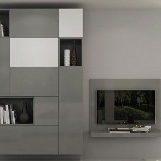 FILD4:グレーを基調としたシンプルデザインの壁掛けテレビキャビネット