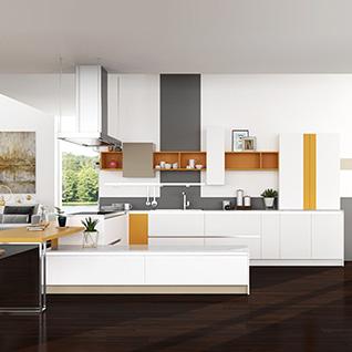 FIK72 : Modern White PVC and Orange Melamine Kitchen Cabinet