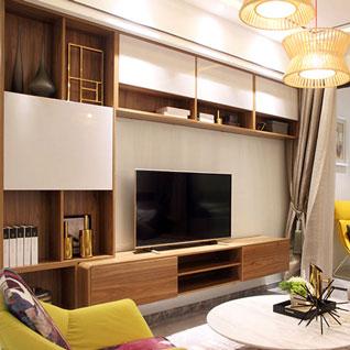 FILD7:中型サイズの木目調ホワイトテレビキャビネット