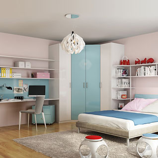 FIBE59 : Contemporary Bedroom in Blue for 10 Years' Old Child