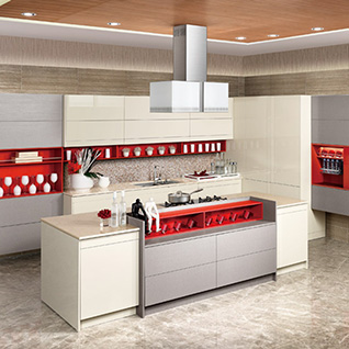 FIK74 : Modern High Gloss Lacquer and Gray Melamine Kitchen Cabinet