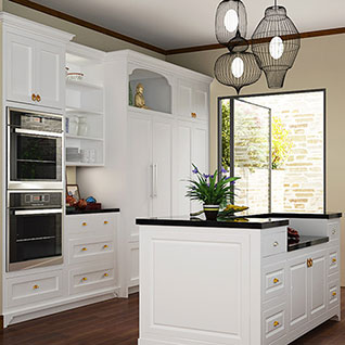 FIK80 : Transitional White Lacquer Kitchen Cabinet