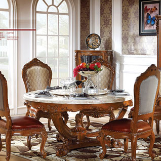 FILD43:フレンチスタイルの彫刻が入った大理石ラウンドダイニングテーブル