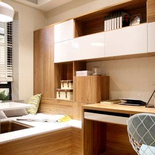FILD21:便利な収納を備えたホワイトと木目のブックケース