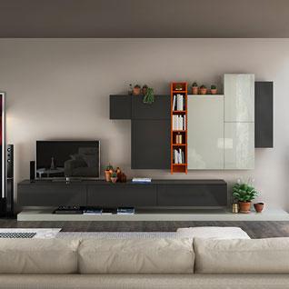 FILD11:ホワイトとグレーを基調としたユニットタイプのテレビスタンド・ラッカー