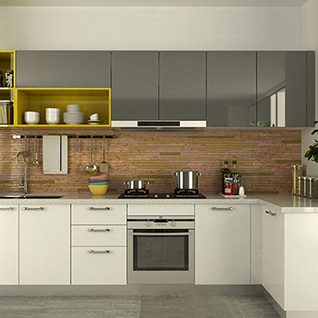 FIK70 : Modern White and Gray High Gloss Acrylic Kitchen Cabinet