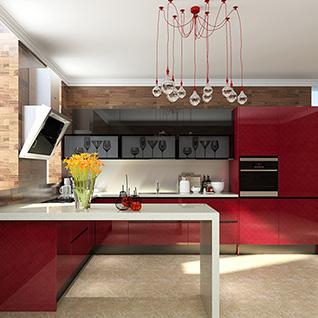 FIK75 : Modern Red High Gloss Acrylic Kitchen Cabinet