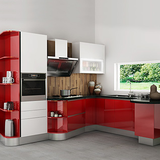 FIK73 : Modern High Gloss Kitchen Cabinet in Red Lacquer