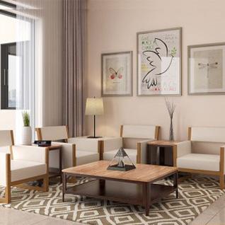 FIW11 : Modern White and Wood Grain PVC Hotel Suites Design