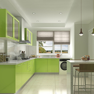 FIK78 : High Gloss Lacquer Kitchen Design with Multi Color Optional