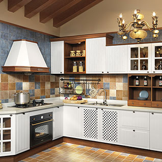 FIK103 : Traditional Rural PVC Kitchen Cabinet