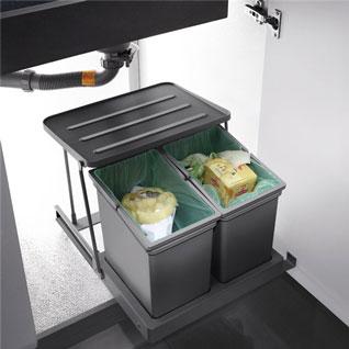 FIK152 : 2 Compartments Sink Cabinet Waste Bin