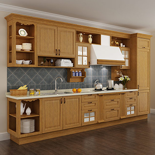 FIK99 : Traditional Red Oak Wood Kitchen Cabinet