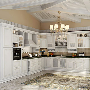 FIK106 : Traditional Birch Solid Wood Kitchen Cabinet