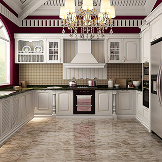 FIK102 : Traditional White Alder Wood Kitchen Cabinet