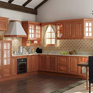 FIK98 : Rural Cherry Wood Kitchen Cabinet